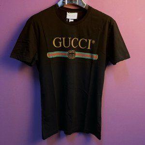 Gucci Men Black Destroyed Short Sleeve T-Shirt